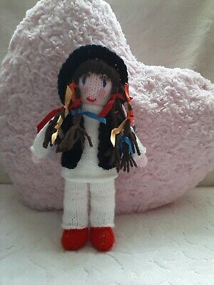 Hand knitted BOY GEORGE doll wearing long white top black waistcoat red shoes