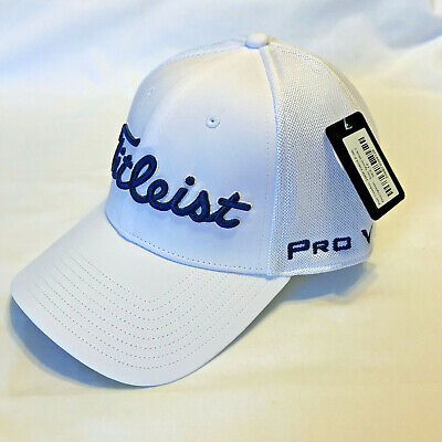 NEW 2019 Tour Issue TItleist Tour Sport Mesh Fitted Hat M/L White blue