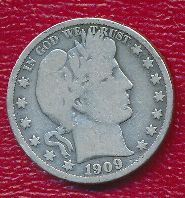 1909 Barber Silver Half Dollar **nice Circulated Good Coin** Free Shipping!!