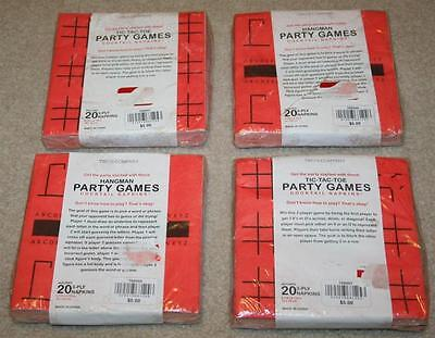 Tic Tac Toe Hangman Party Games Cocktail Napkins Lot of 4 (80 total)