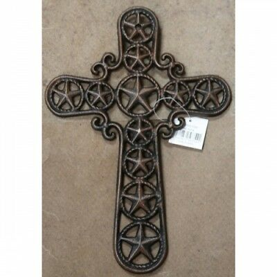 """Cast Iron 12"""" Star and Circles Wall Cross Rustic Finish Western Decor"""