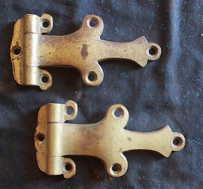 Pair Antique Solid Brass Door Strap Full Surface Mount Barn Ice Box Door Hinges