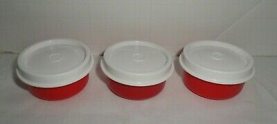 Tupperware Smidgets Mini Containers Red With White Lids  ~ Set of 3