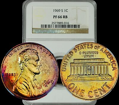 1969-S Lincoln Memorial Cent NGC PF66 RB Violet/Orange/Green Toned Colors Penny
