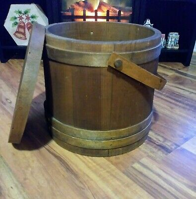 VINTAGE PRIMITIVE 19th C WOODEN HANDLED FIRKIN LIDDED SUGAR BUCKET  STORAGE