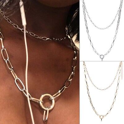 Punk Gothic Women Girls Round Metal Chain O Ring Choker Collar Necklace V!