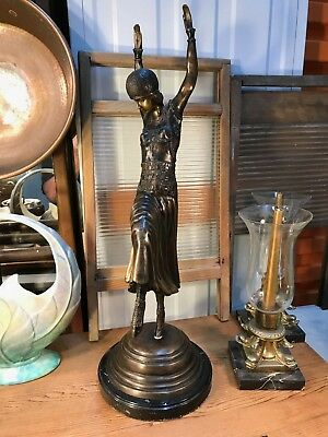 Antique Chiparus French Style Bronze Art Deco Dancing Lady on Marble Base