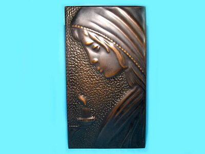 Beautiful Wall Hanging Stamped Copper Picture-Praying Madonna!!!
