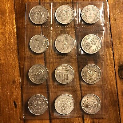12 Old Antique Vintage Chinese Or South Asian Coin Lot Unknown Token Silver?