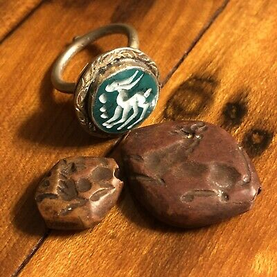 3 Ancient Intaglio Bead & Ring Stone Signet Pendant Byzantine Antiquity Artifact