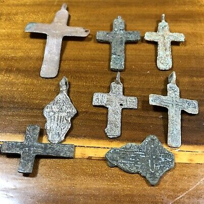 8 Medieval Cross Pendants Golgotha Russia Christian Artifact Calvary Jesus Old