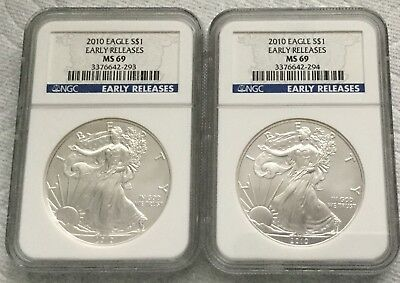 2010 American Silver Eagle NGC MS69 - Early Releases