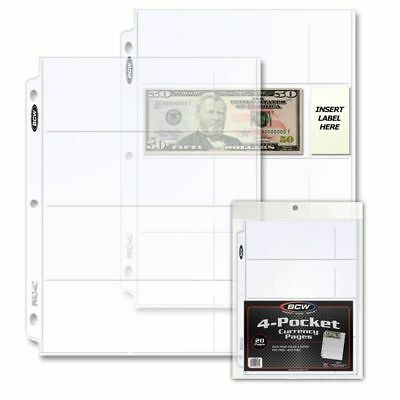 1 Pack of 20 BCW 4-Pocket Currency Pages