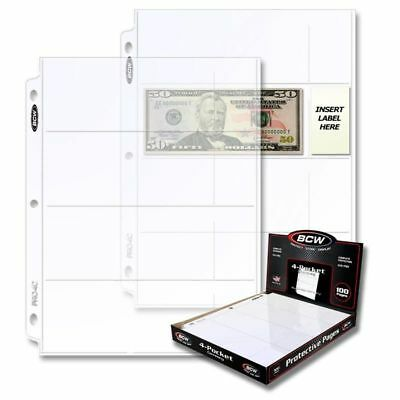 1 Box of 100 BCW 4-Pocket Currency Pages