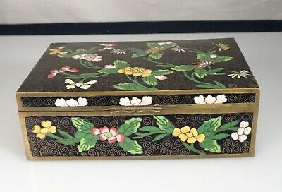 Vintage Chinese -Floral on Black- Cloisonne Box      -    55301