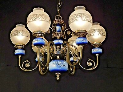 ANTIQUE Victorian Pewter Finish 1950s Repo Gaslight Glass Globes Blue Porcelain