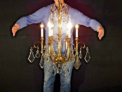 ANTIQUE FANCY Brass 6 Arm 6 Lite HOLLYWOOD GLAM Cut Lead Crystal Chandelier