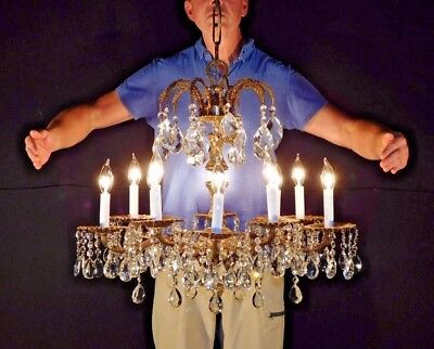 """Antique French 10 Arm 10 Lite """"Palace Versailles"""" Cut Lead Crystal Chandelier"""