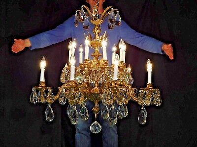 MASSIVE Antique French 9 Arm 18 Lite Brass Flying Maidens Cut Crystal Chandelier