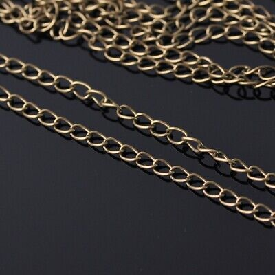 3.2mm Wide 100m Long Bronze Color Metal Jewelry Making Extension Open Link Chain