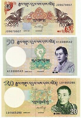 Bhutan Banknote Set of 3 Notes 5,10,20 Ngultrum As Pictured