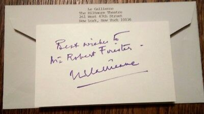 EVE Le GALLIENNE AUTOGRAPH - Signed & Inscribed Note on Card with Envelope