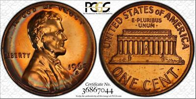 1968-S 1c LINCOLN MEMORIAL PENNY BU PCGS PR67RD CIRCLE TONED HIGH GRADE!