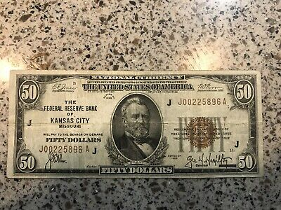 1929 Series $50 Dollar Brown Seal Federal Reserve Bank Of Kansas City Note