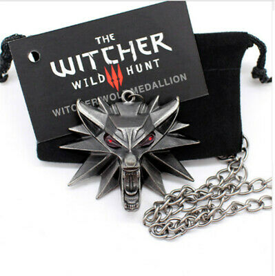 The Witcher 3: Wild Hunt Necklace Geralt Wolf Head Medallion Pendant Red Eyes