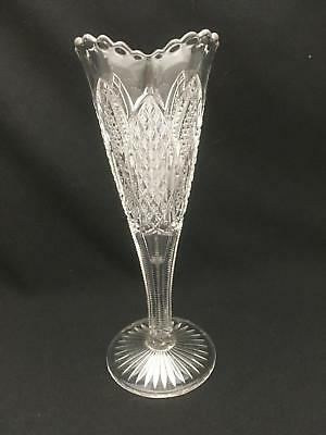 "Elegant Antique Pressed Glass Footed Vase 10.75"" EAPG Scalloped Top"