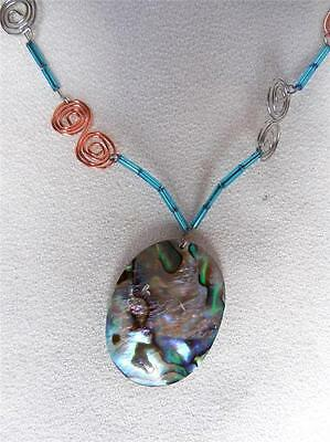 """NICE! Handmade Necklace Abalone Pendant on Egyptian Coil 30"""""""