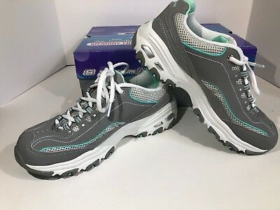 Skechers D'Lites Life Saver Womens Sz 8.5 Gray  Mint Sneaker Shoes F2-238