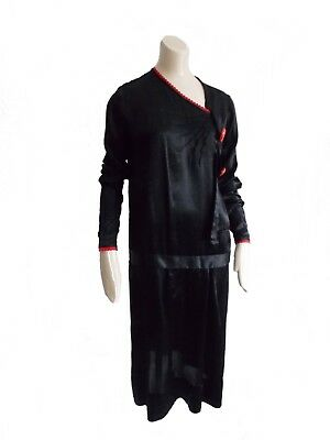 vintage 1920s black flapper dress / antique 20s dress / 20s red button dress