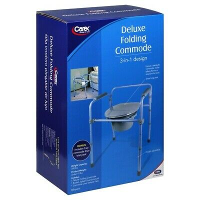 Carex Deluxe Folding Commode 3 In 1 Design X-Long Seat Height Adjustment SEALED!