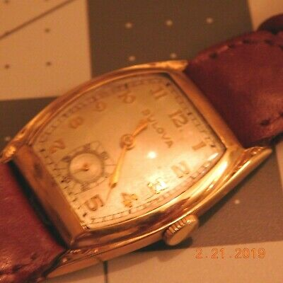 Vintage SWISS 10 K ROLLED GOLD BEZEL ART DECO Bulova 15 JEWELS WRIST WATCH RUNS