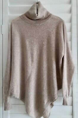 AQUA CASHMERE 100% Cashmere Poncho Shaped Jumper (with Sleeves) Roll Neck L