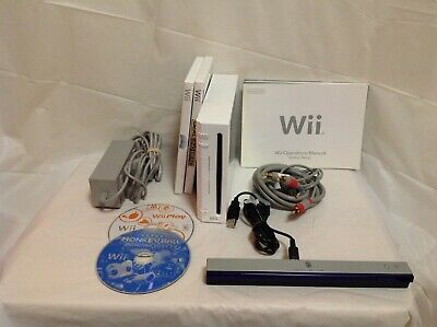 Nintendo Wii Console Bundle w/ Games & Wires - C3