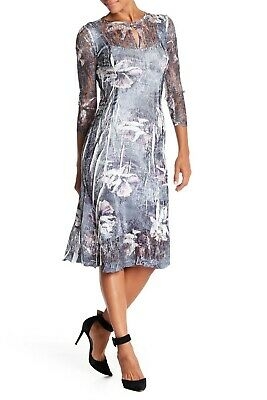 4398a8370a9 NWT KOMAROV 3 4 Sleeve Keyhole Floral Dress in Winter Orchid  SZ Small