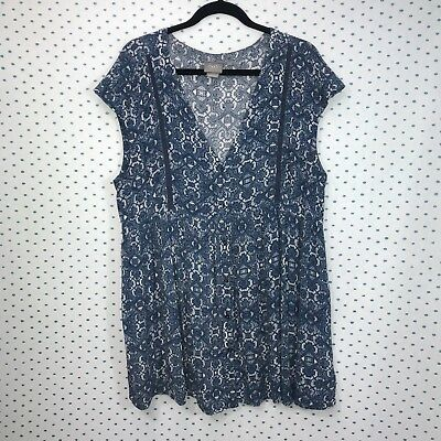 e3c97a9e38f Vanessa Virginia Size Large Anthropologie Blue & White Ladder Lace V-Neck  Tunic