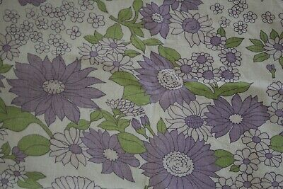 retro Vinty Bamboli ish double bed flat sheet thick cotton PURPLE DAISY FLORAL