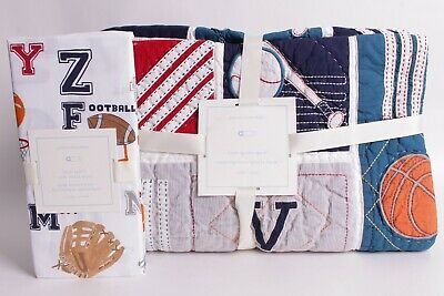 NWT Pottery Barn Kids Liam Sports toddler quilt & crib sheet nursery football