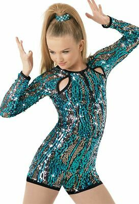 b6921a7a1 WOMENS WEISSMAN SEQUINED Long Sleeve Romper Bodysuit Dance Costume ...