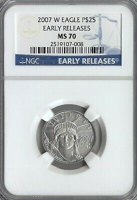 2007-W 1/4 Ounce Burnished Platinum American Eagle $25 Ngc Ms 70 Early Releases