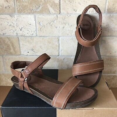 c4d53787b42986 Teva Ysidro Stitch Brown Leather Wedge Sandals Size Us 8 Womens 1015120