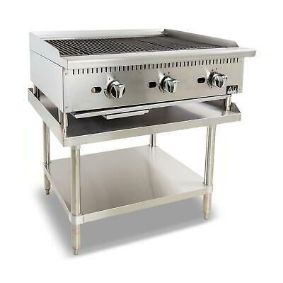 Three Burner Commercial Chargrill with lava rock - 910MM width - Natural Gas