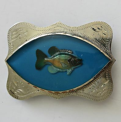Vintage Western Flair Fish Fishing Men German Silver Blue Lucite Belt Buckle