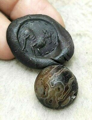 Original Ancient Sulemani Stunning Banded  Agate Intaglio Fawn Deer Seal Bead
