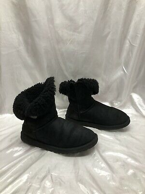 9b40f9f6a47 UGG AUSTRALIA SHEEPSKIN 5803 Women's Bailey Button II Black Ankle Boots  size 9