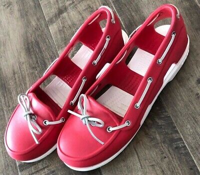 d25d05af87e72b Crocs Boat Shoes Womens Sz 10 Beach Line Slip On Red and White lite Coral  Laces