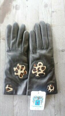 Portolano Italy Leather 100% Cashmere-Lined Gloves Leopard Details Size 6.5 NWT
